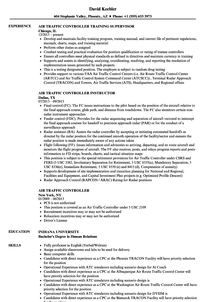 Air Traffic Controller Resume Samples Velvet Jobs