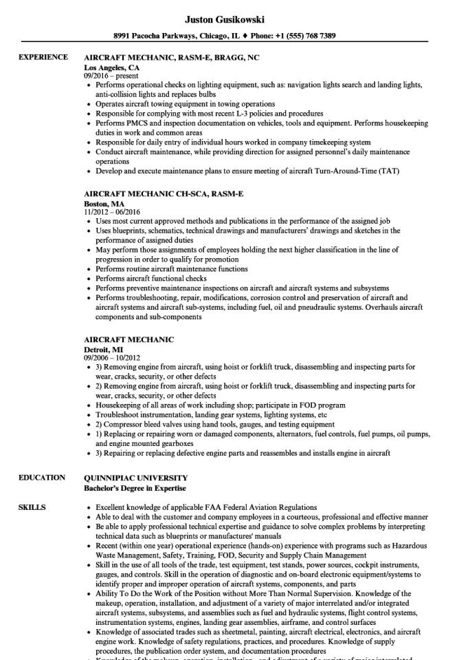 Aircraft Mechanic Resume Resume Sample