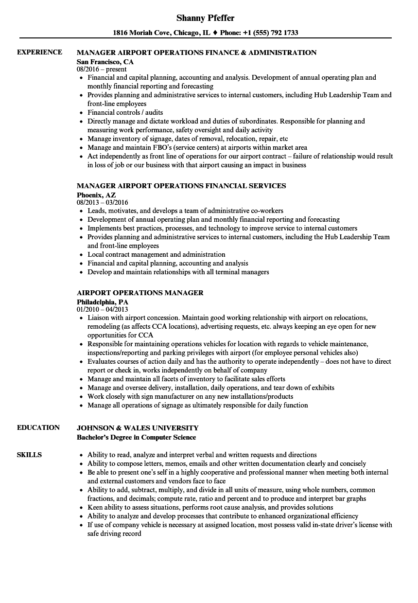 airport management resume examples