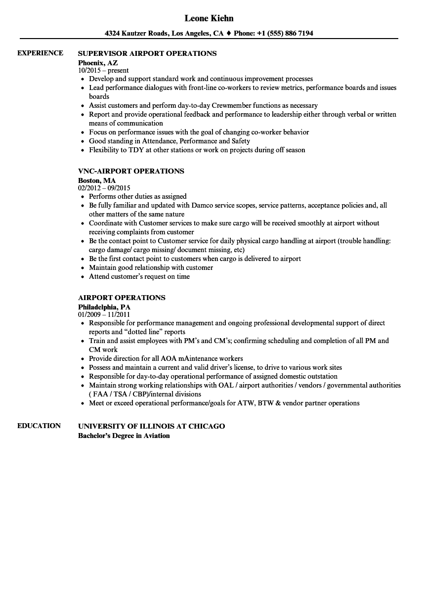 resume sample for airport staff