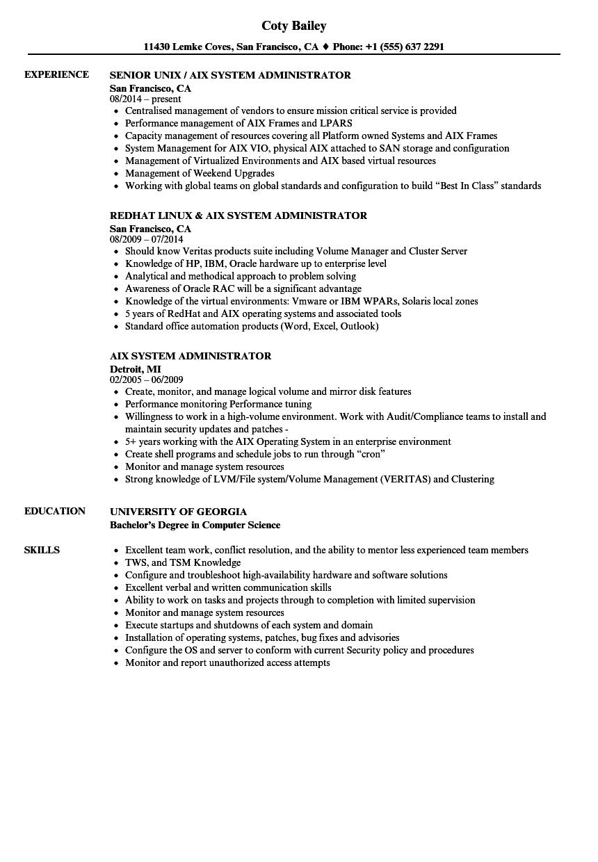 AIX System Administrator Resume Samples  Velvet Jobs