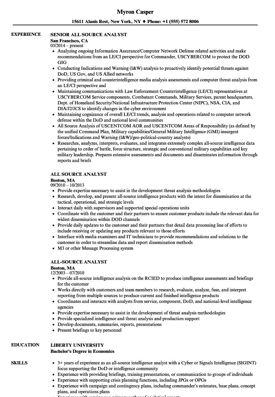 sigint officer resume sample