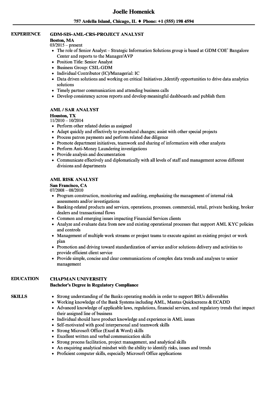 sample aml compliance resume