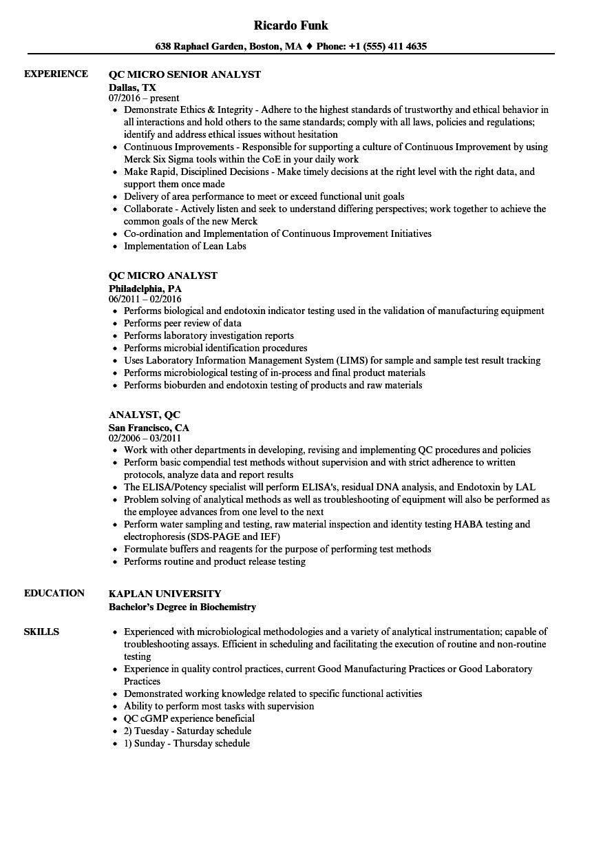 qc analyst resume samples