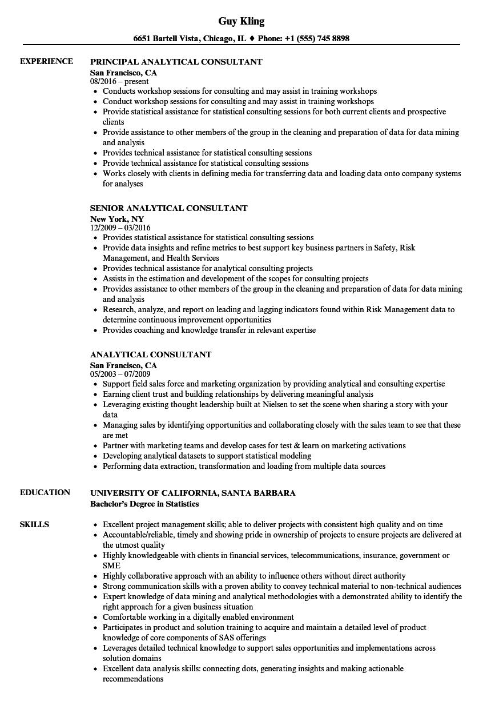 Analytical Consultant Resume Samples Velvet Jobs