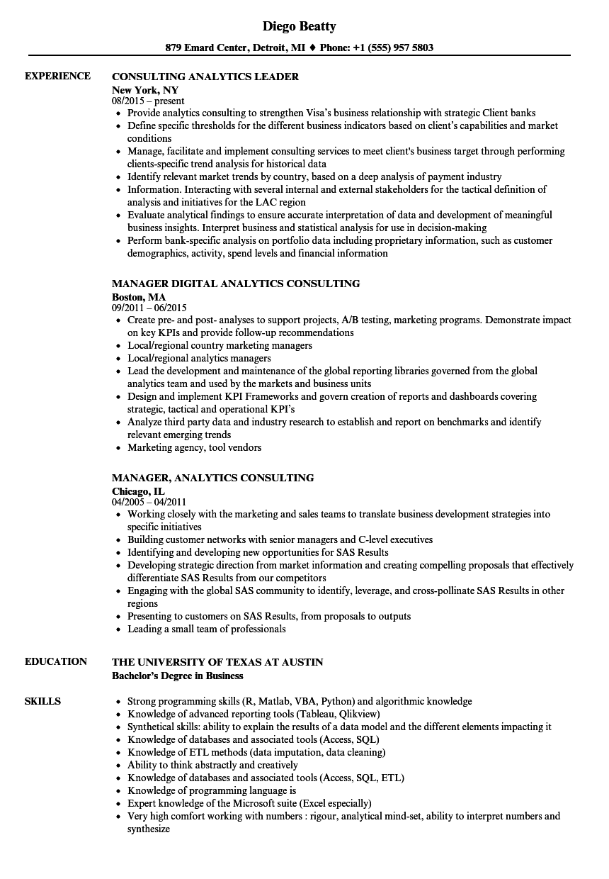 Download Analytics Consulting Resume Sample As Image File