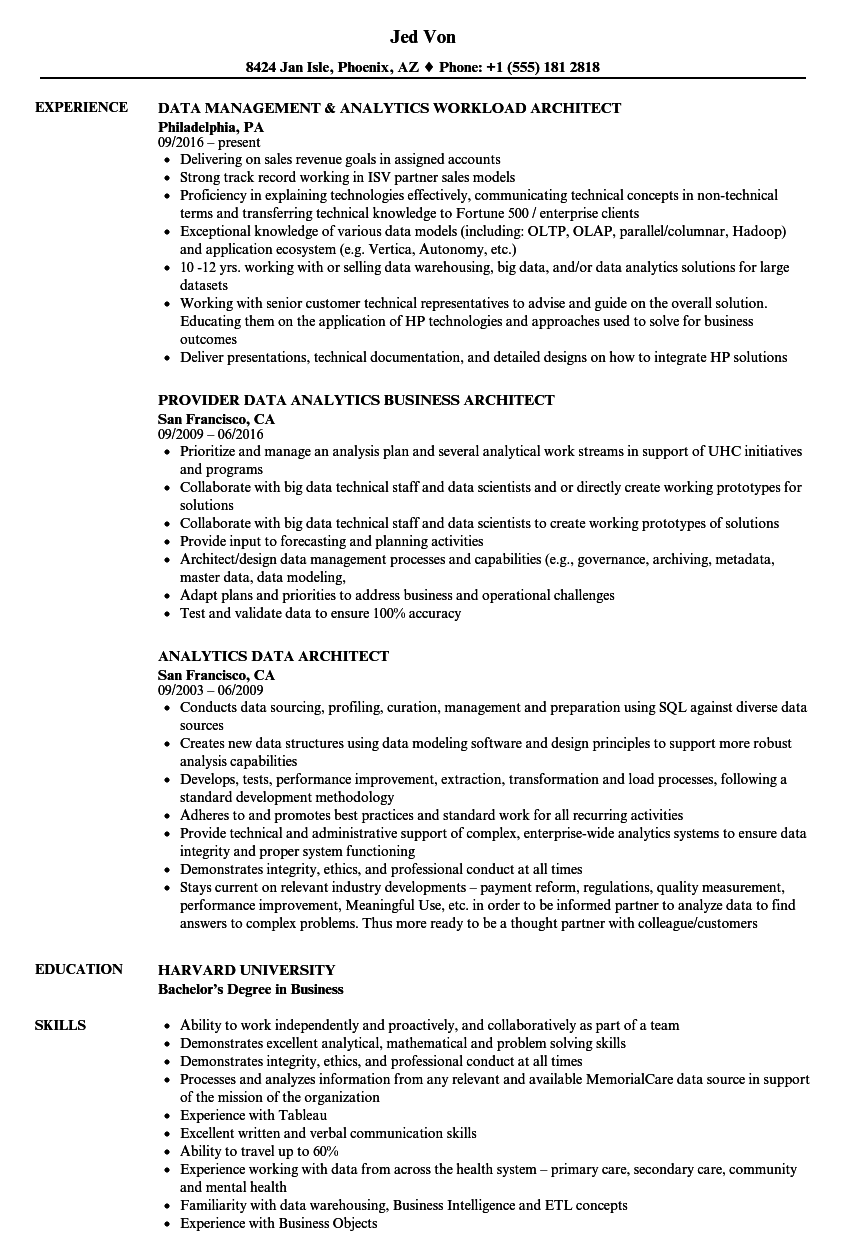 Analytics Data Architect Resume Samples  Velvet Jobs