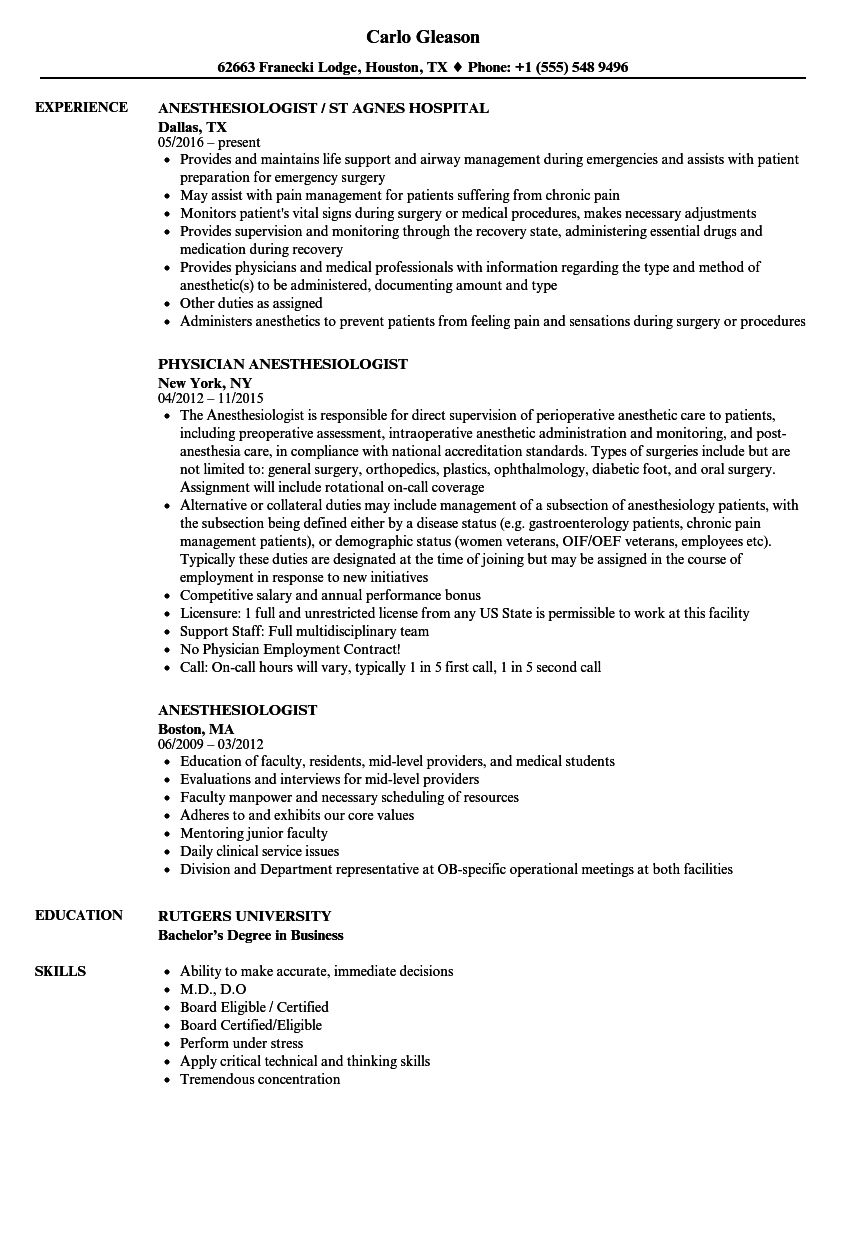 Anesthesiologist Resume Samples Velvet Jobs