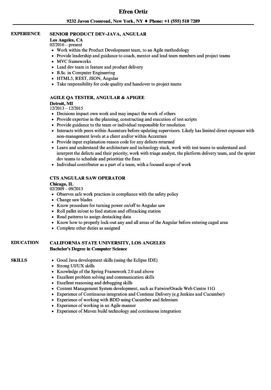 Angular Resume Samples Velvet Jobs