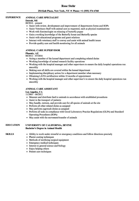 animal care technician sample resume