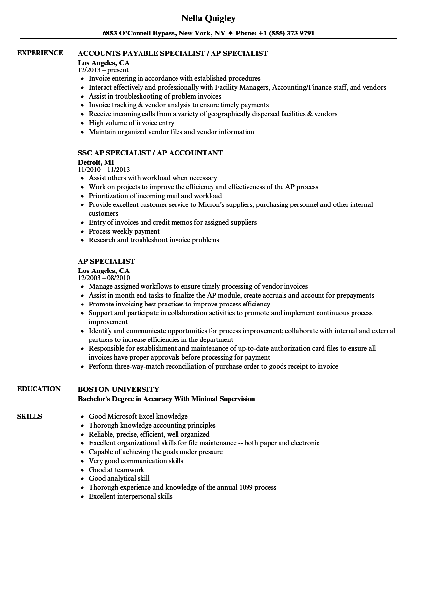 payroll specialist resume templates