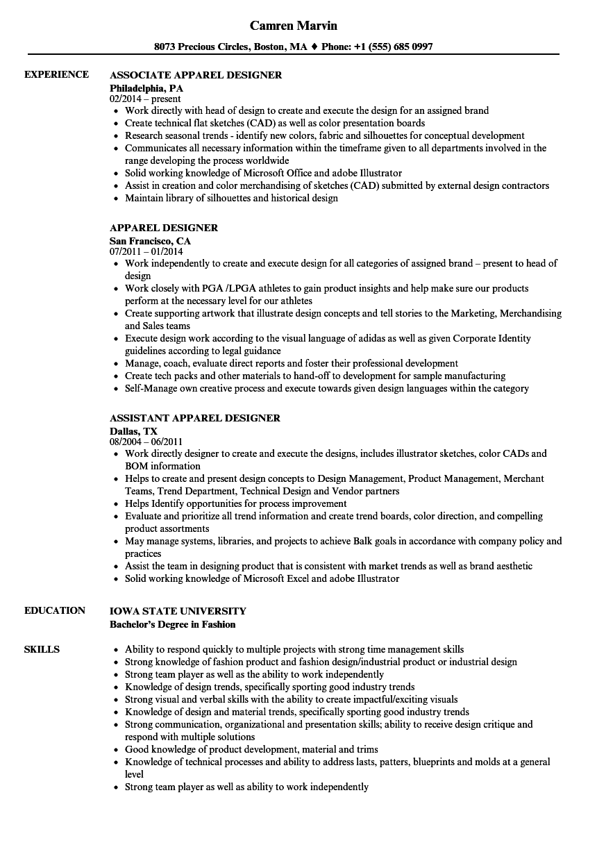 Apparel Designer Resume Samples Velvet Jobs