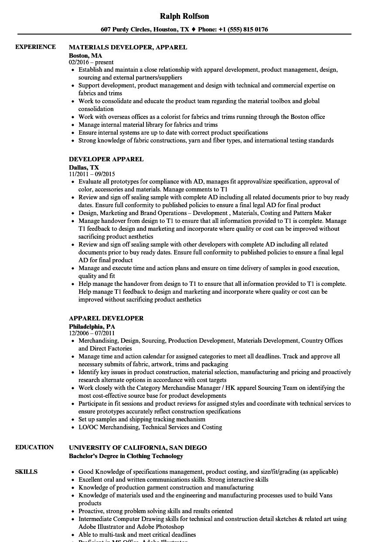 Apparel Developer Resume Samples Velvet Jobs