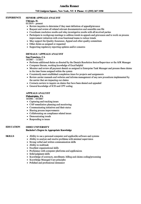 Appeals Analyst Resume Samples Velvet Jobs
