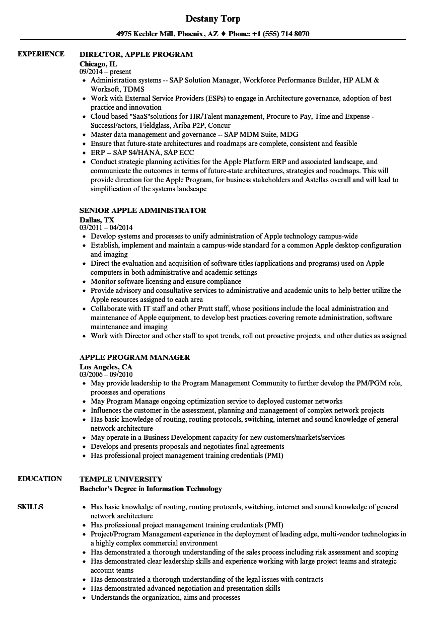 Apple Resume Samples Velvet Jobs