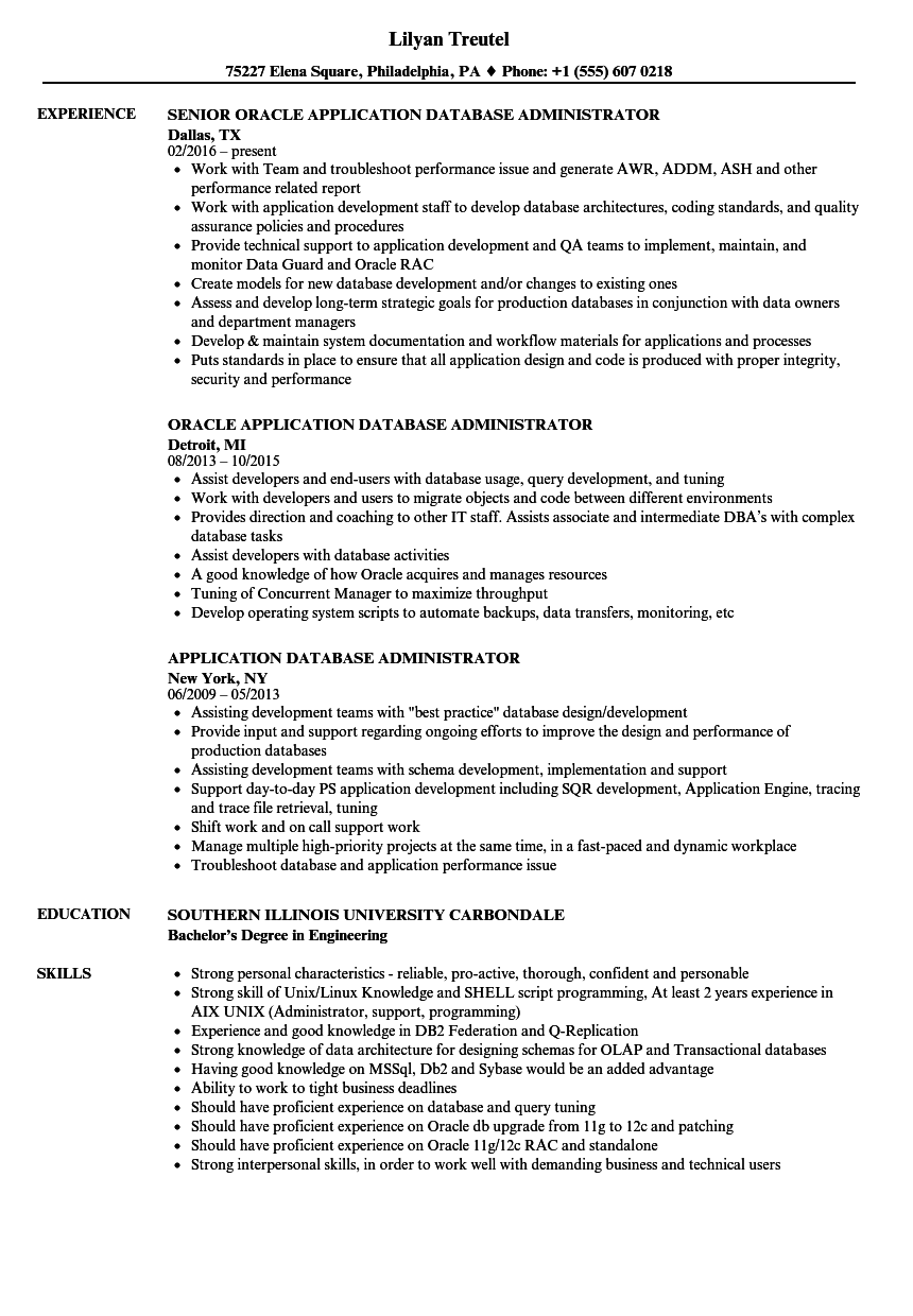 Application Database Administrator Resume Samples Velvet
