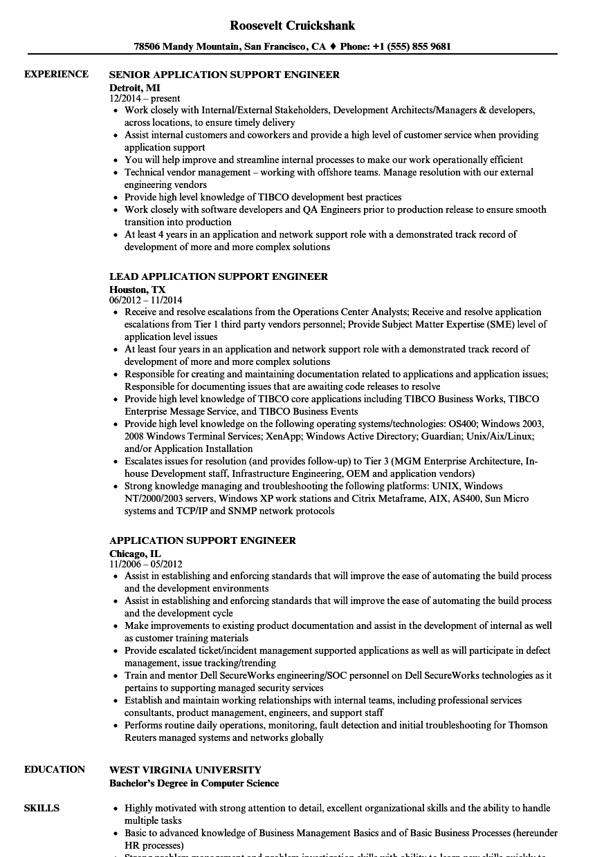 sample resume for application support engineer