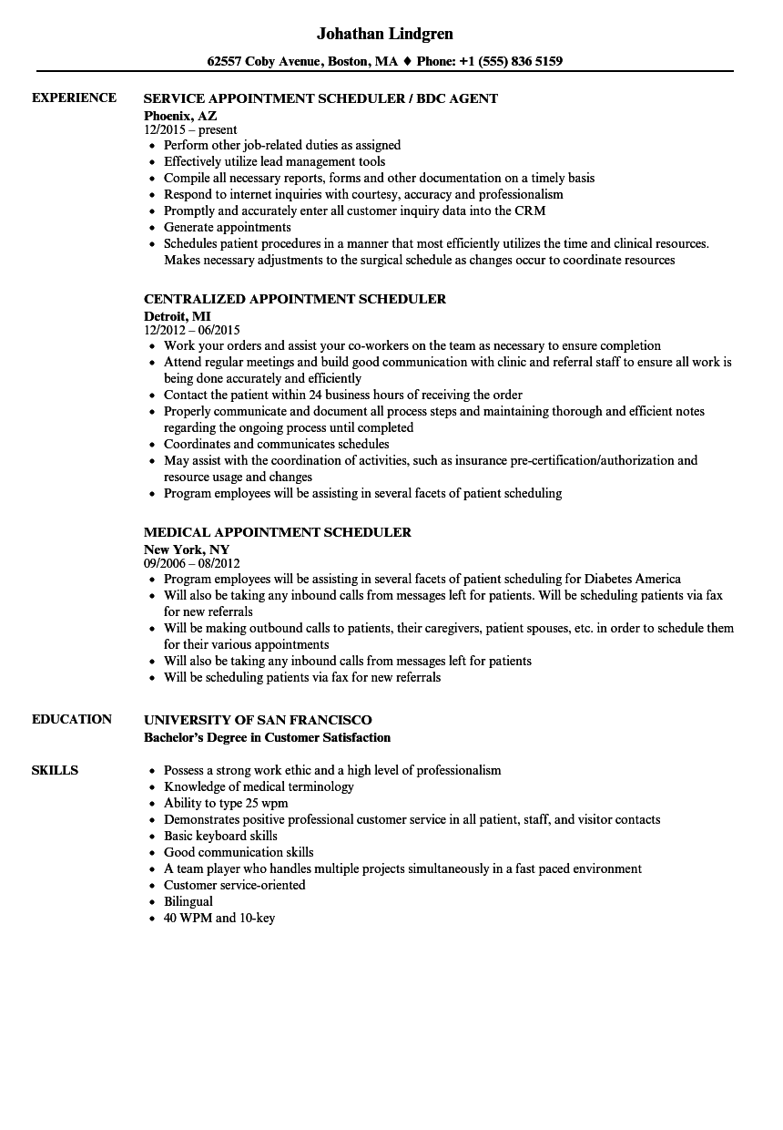 Appointment Scheduler Resume Samples  Velvet Jobs