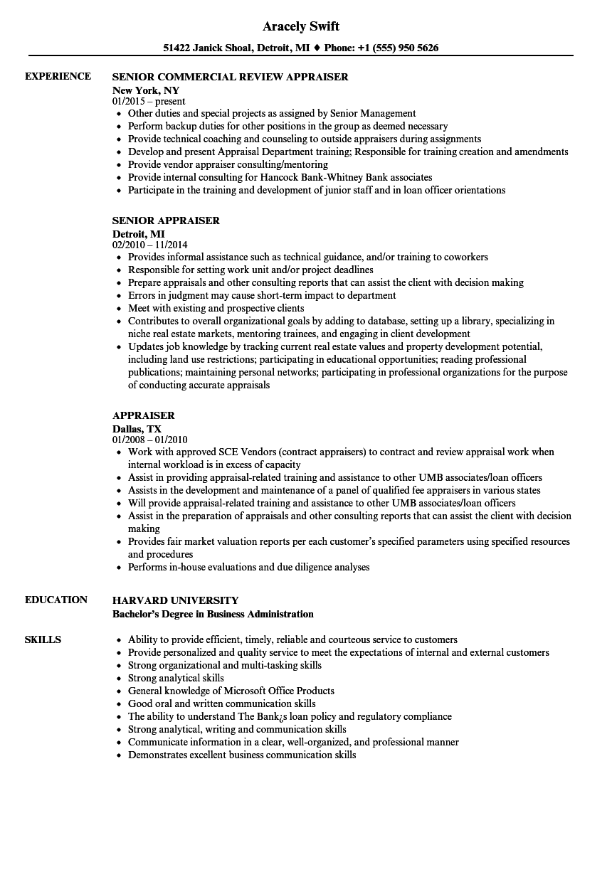 Appraiser Resume Samples Velvet Jobs