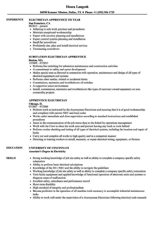 Apprentice Electrician Resume Samples  Velvet Jobs
