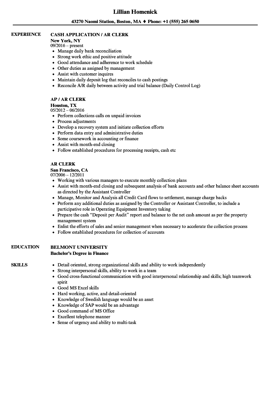 AR Clerk Resume Samples Velvet Jobs