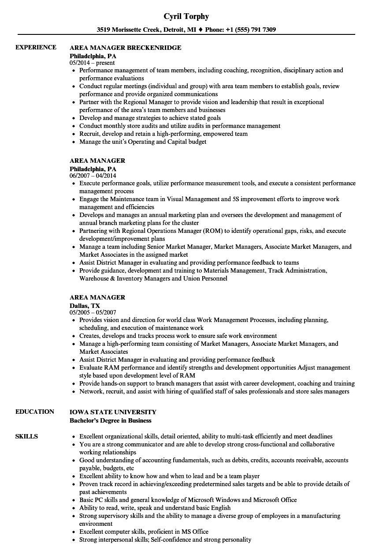 Area Manager Resume Samples  Velvet Jobs