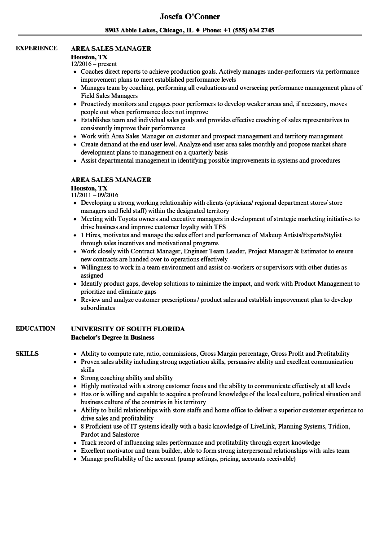area maintence resume sample