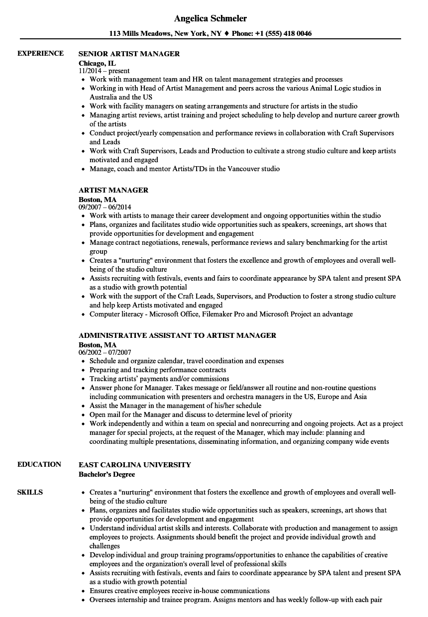 Artist Manager Resume Samples Velvet Jobs