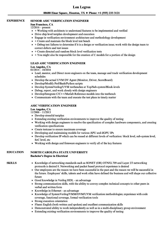 Verification Engineer Resume  Bijeefopijburgnl