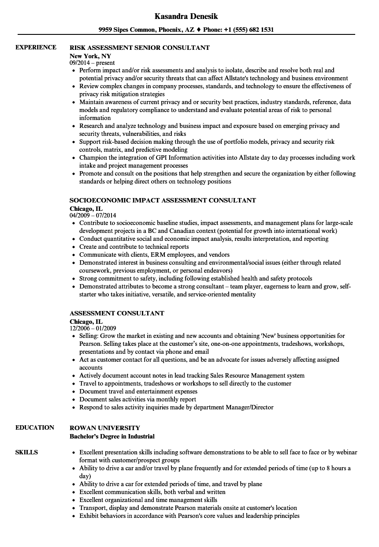 Assessment Consultant Resume Samples Velvet Jobs