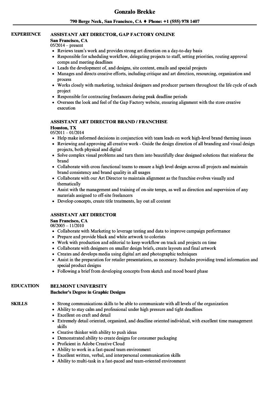 resume samples art director