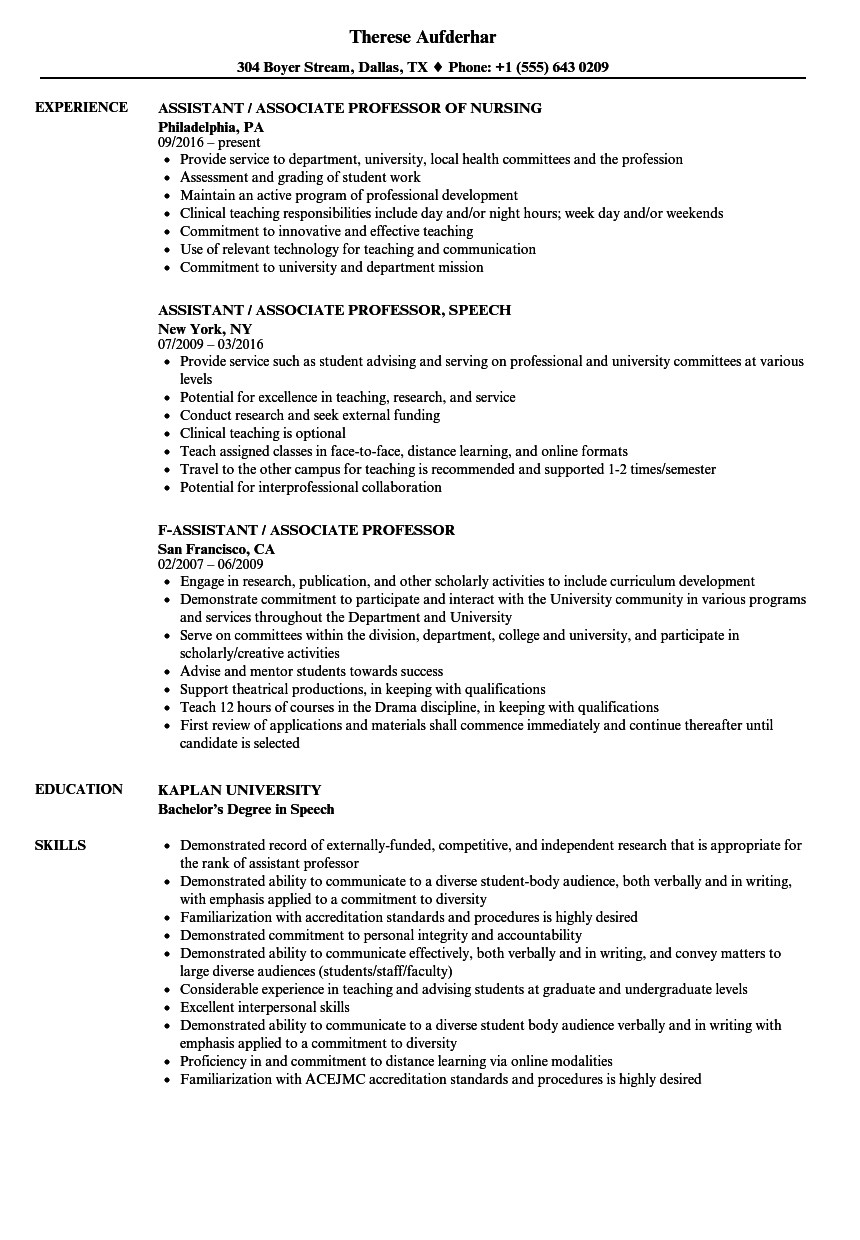 Assistant Associate & Professor Resume Samples Velvet Jobs