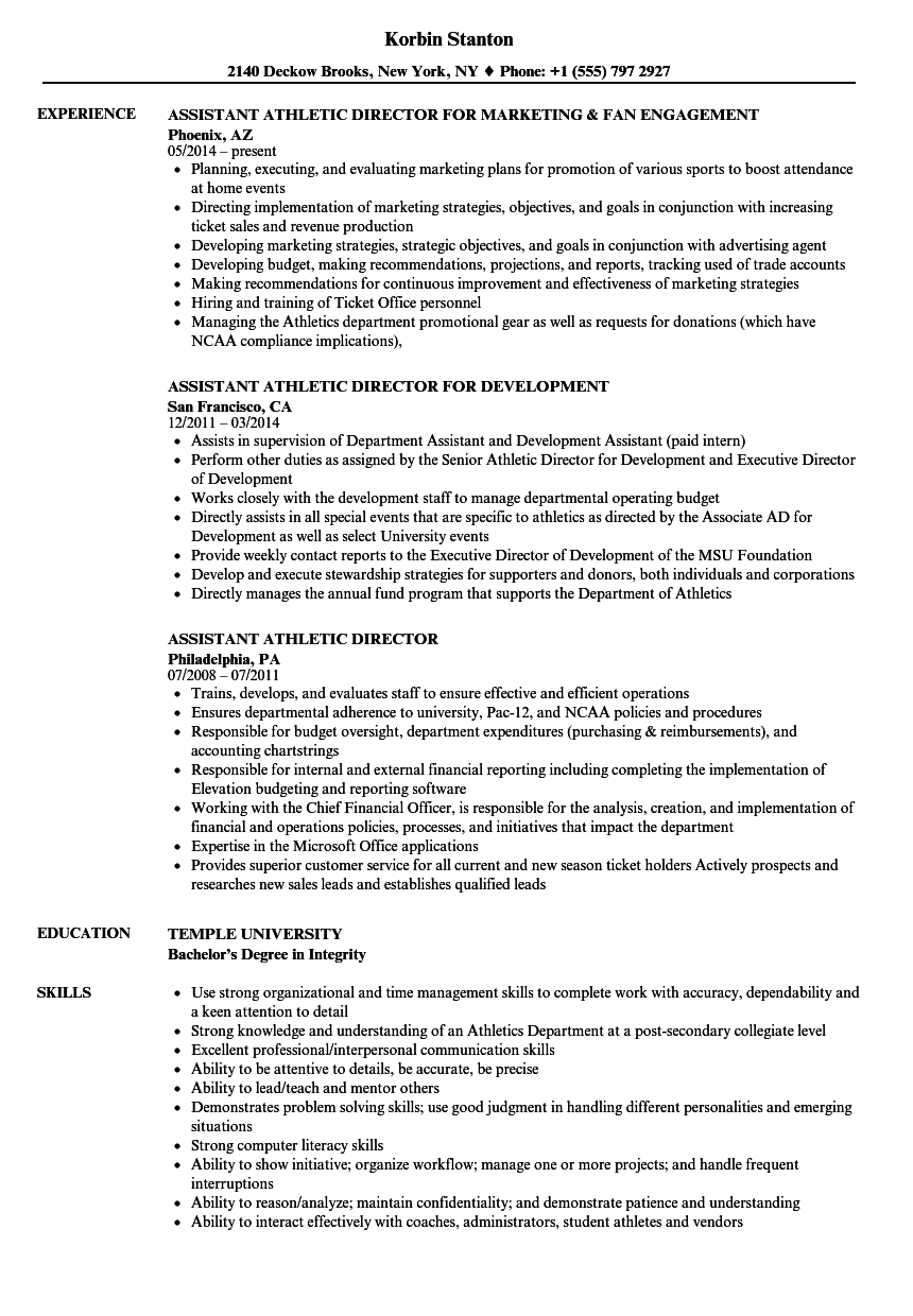 assistant athletic director resume examples