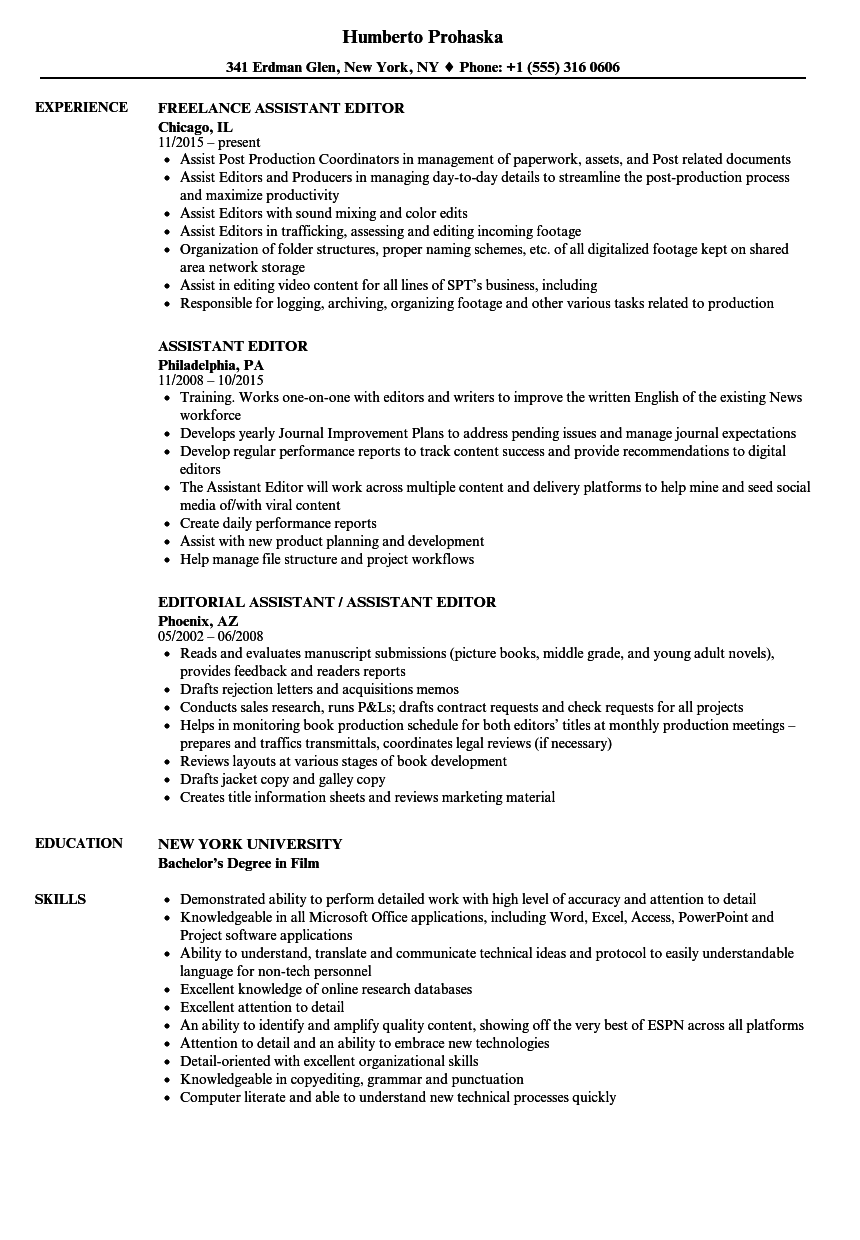 Sample Resume Managing Editor - Resume Examples | Resume Template