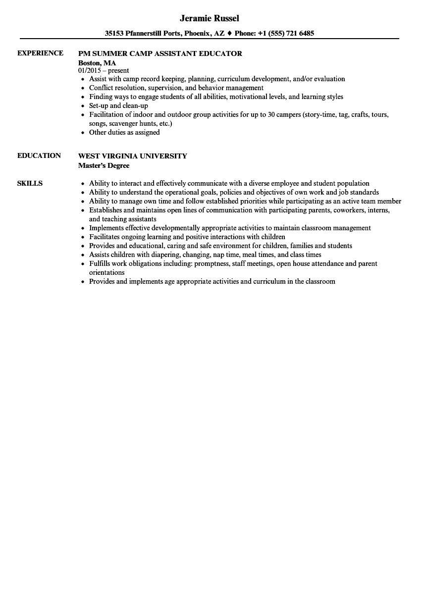 Download Assistant Educator Resume Sample As Image File