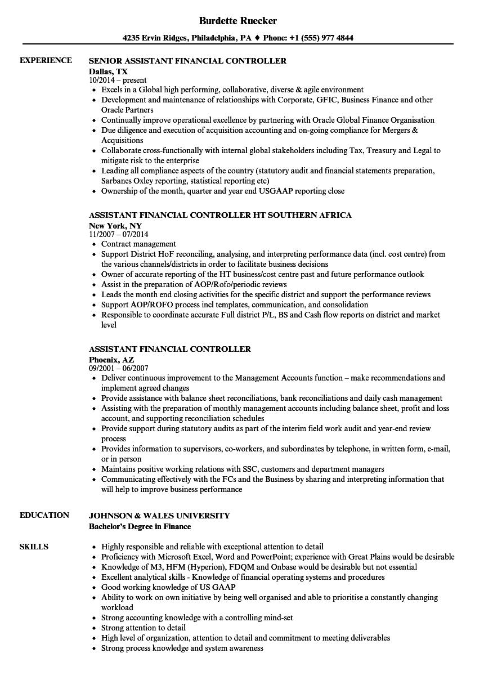 Resume Financial Controller Examples