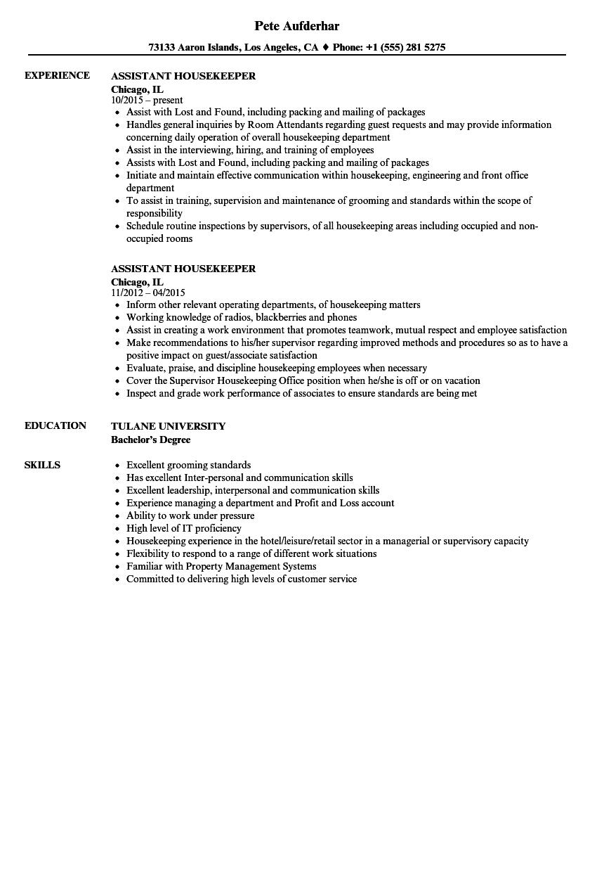 housekeeper supervisor resume examples