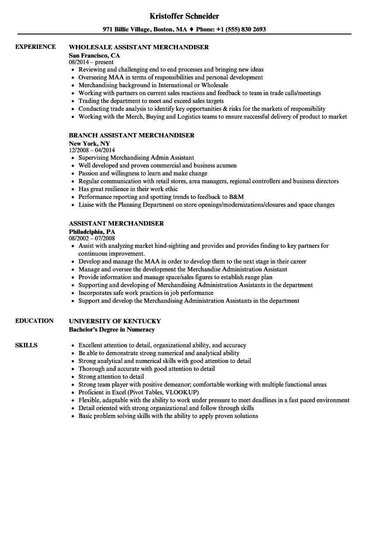 Assistant Merchandiser Resume Samples Velvet Jobs