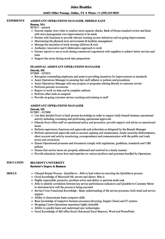 Assistant Operations Manager Resume Samples Velvet Jobs