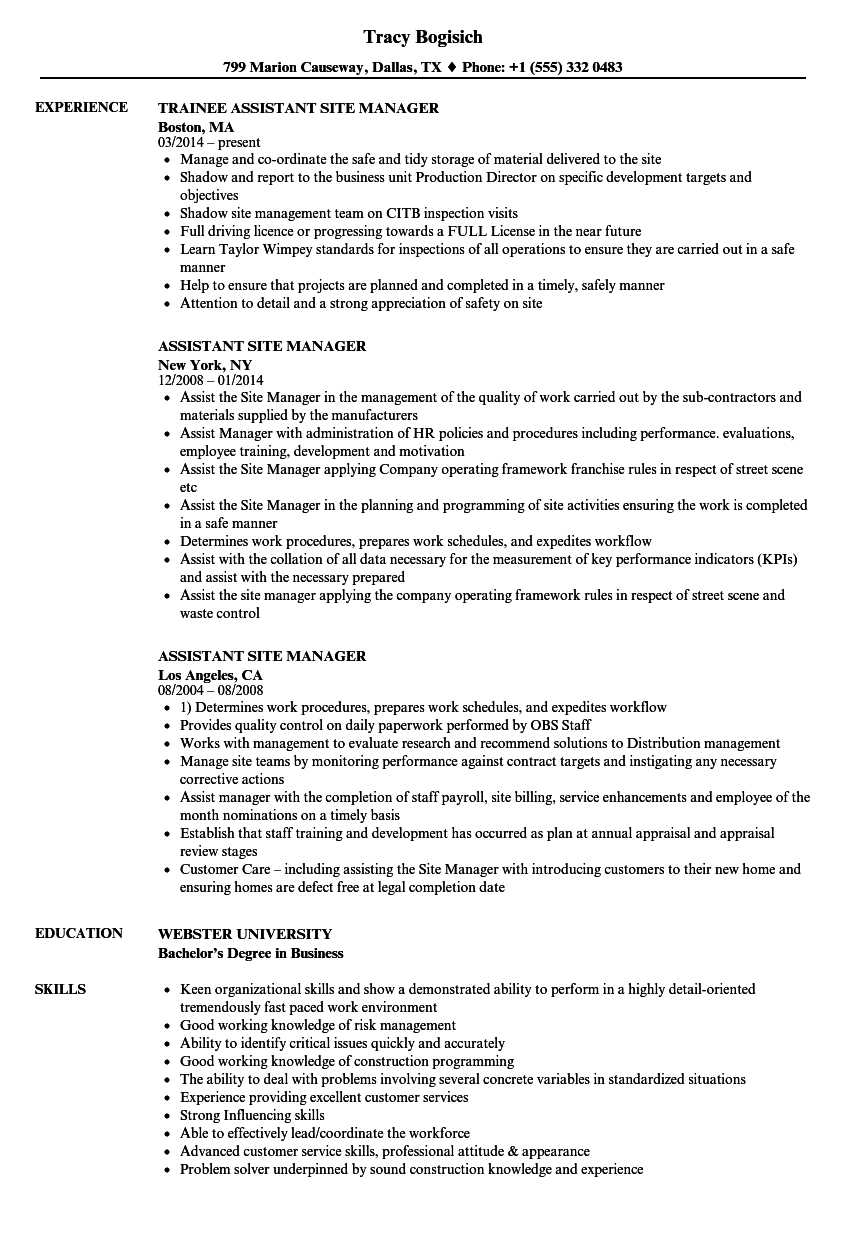 Assistant Site Manager Resume Samples Velvet Jobs