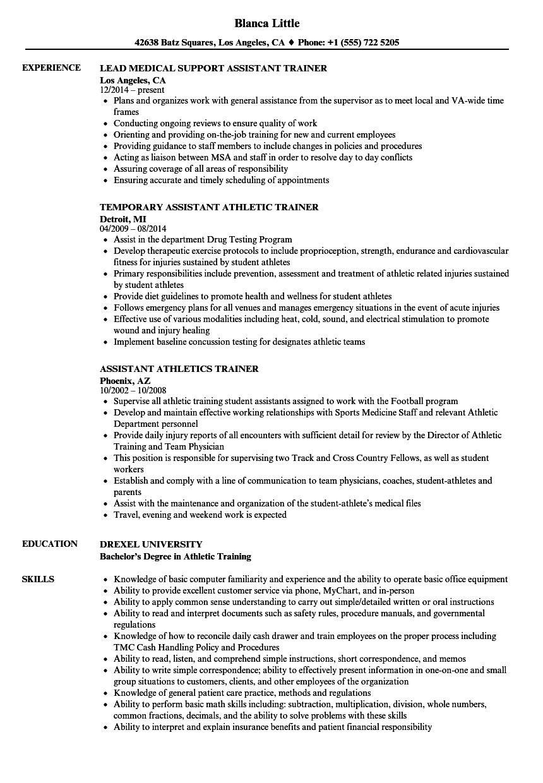 athletic trainer resume sample