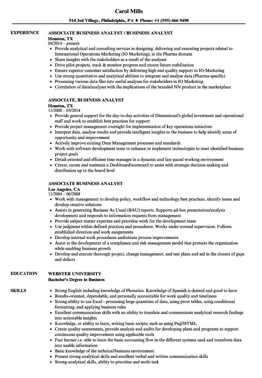 Download Associate Business Analyst Resume Sample As Image File