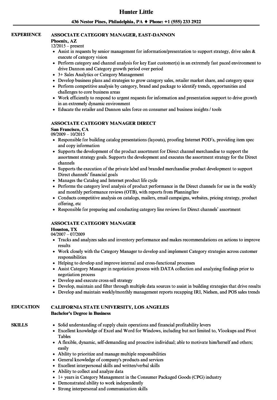 Associate Category Manager Resume Samples Velvet Jobs