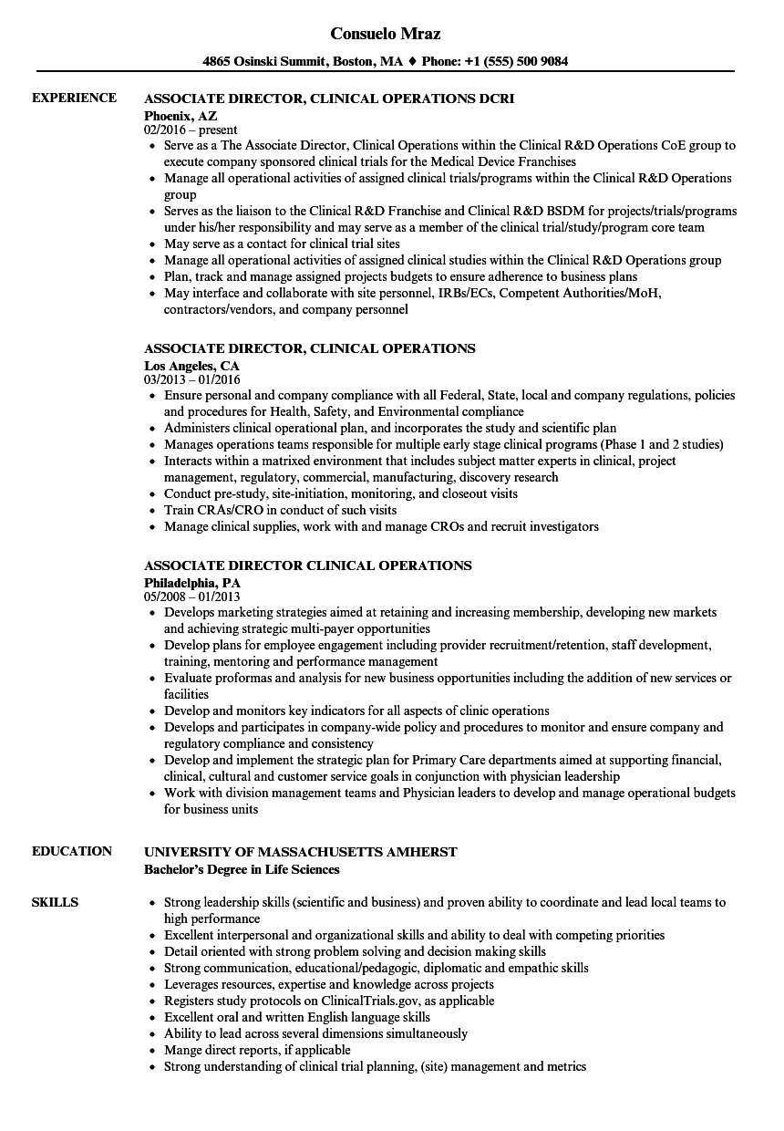 Sample Resume Director Of Clinical Operations