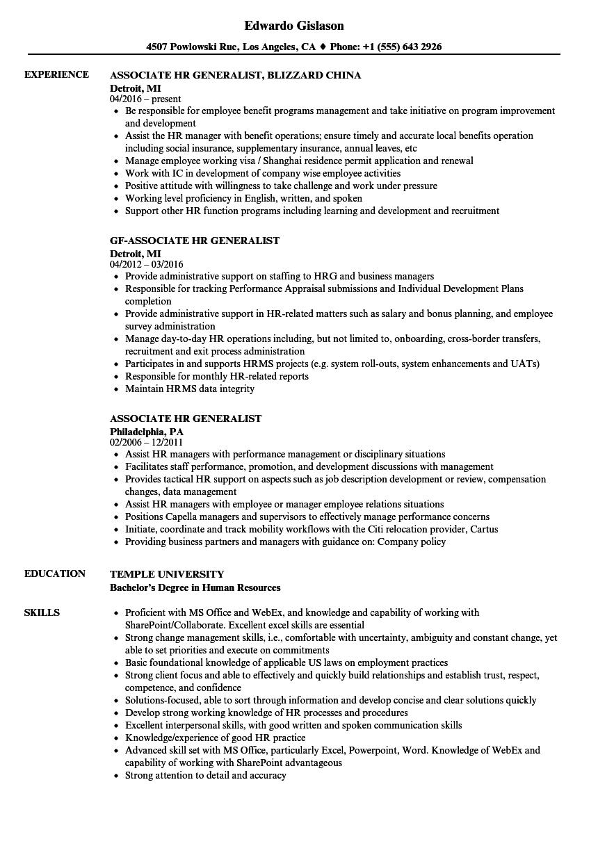 sample senior human resources generalist resume