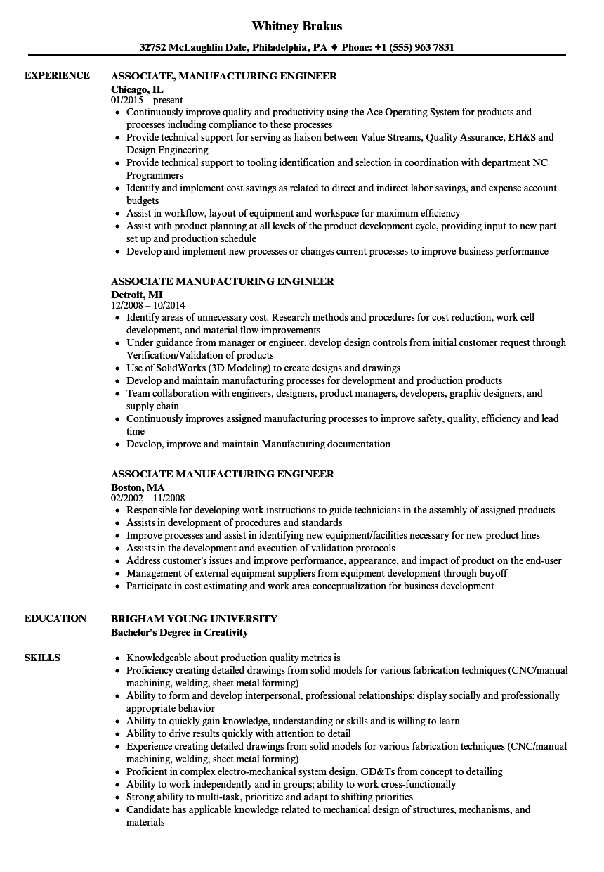 Associate Manufacturing Engineer Resume Samples Velvet Jobs