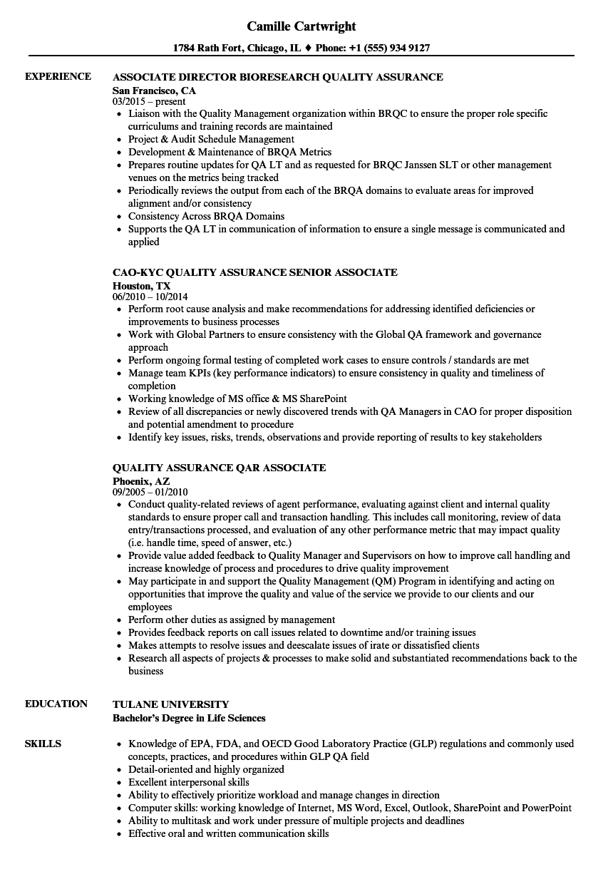Associate Quality Assurance Associate Resume Samples