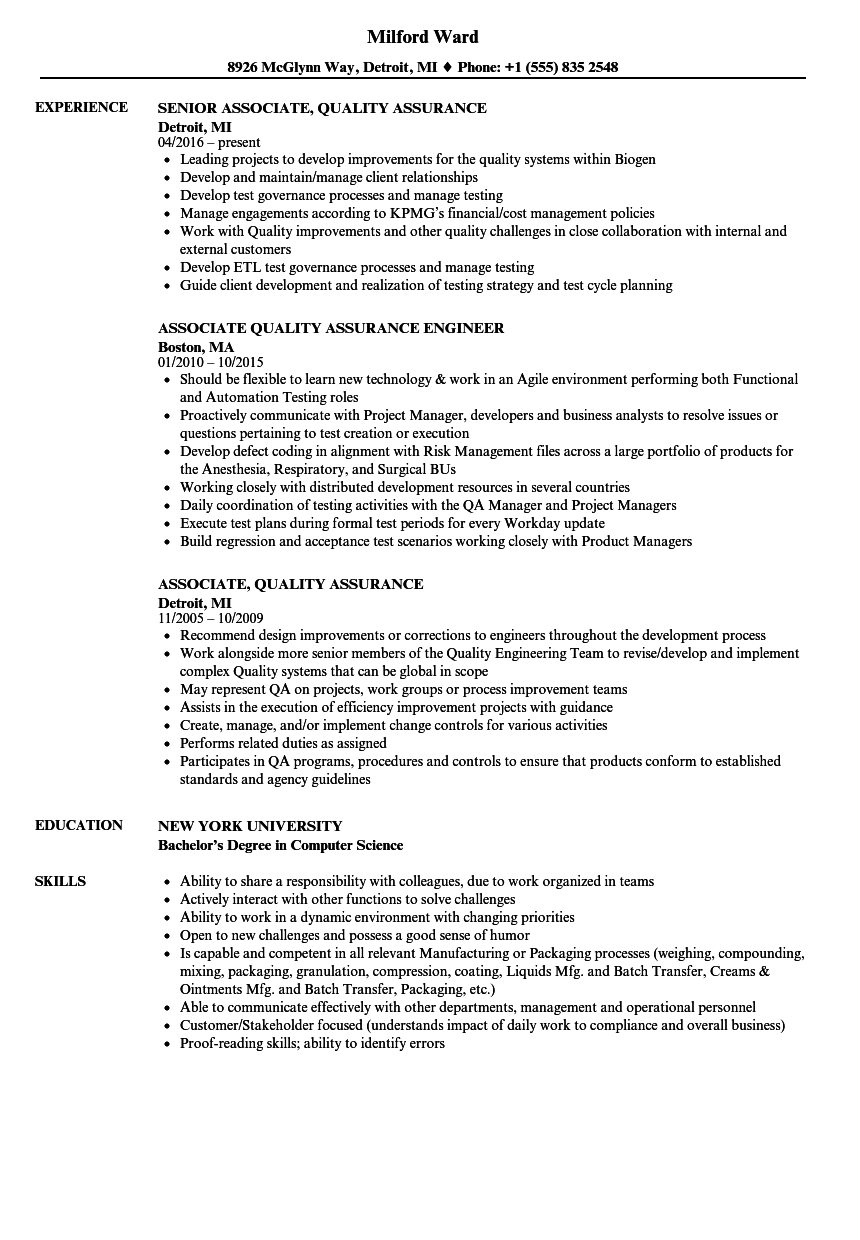 Associate Quality Assurance Resume Samples  Velvet Jobs