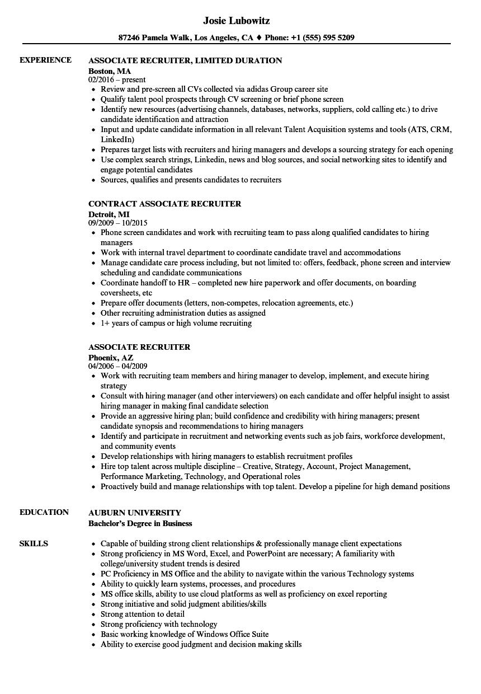 sample corporate associate resume
