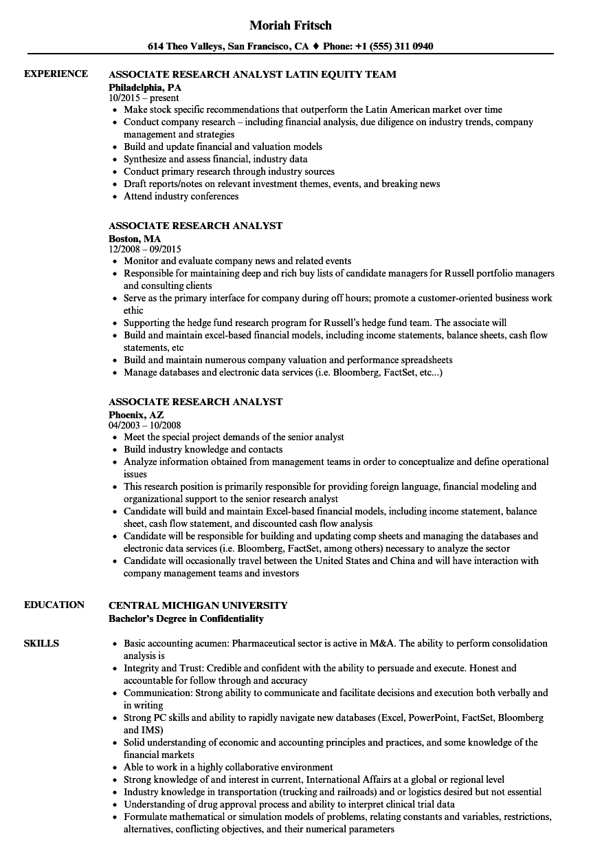 Associate Research Analyst Resume Samples Velvet Jobs